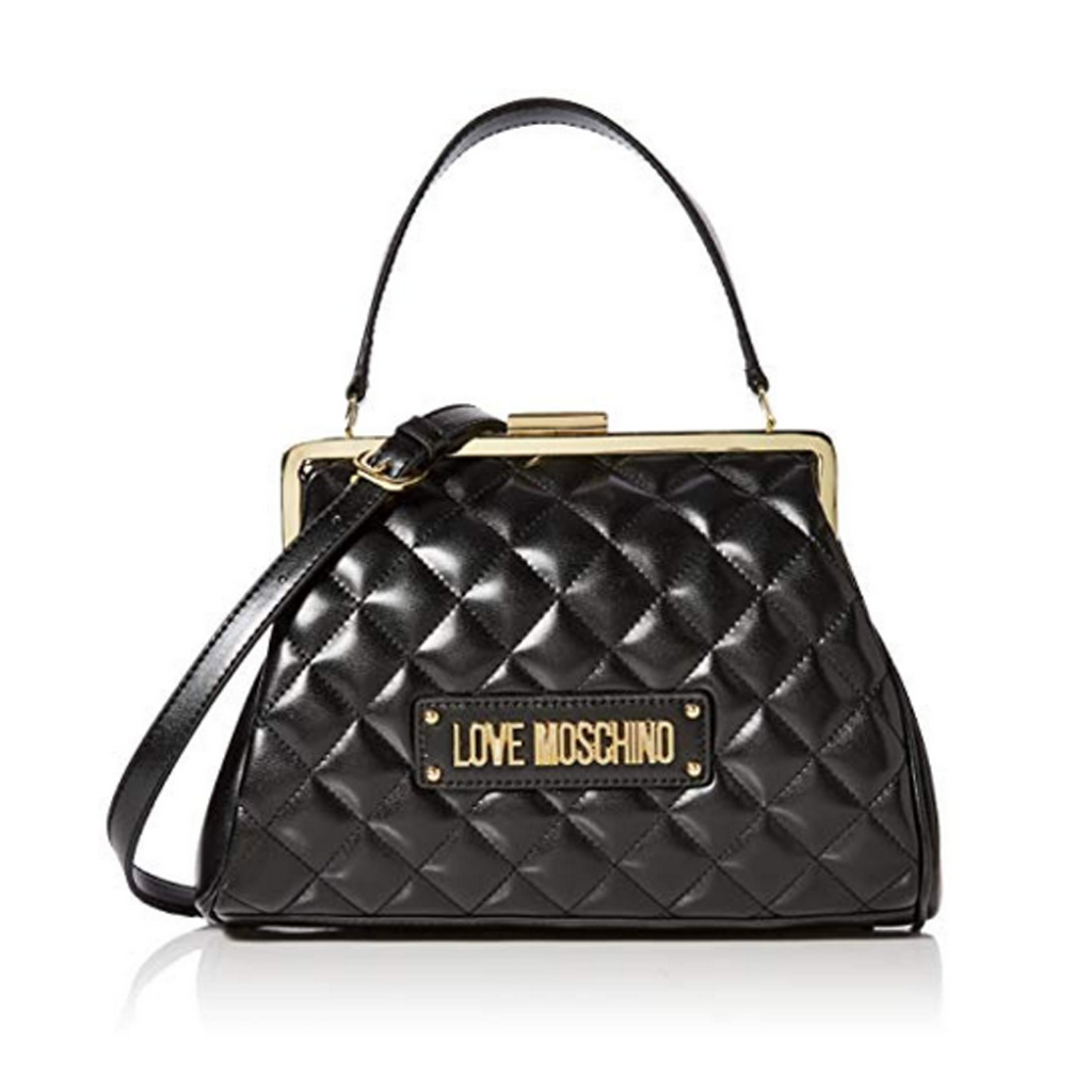Details about  /Woman backpack Love Moschino in black quilted faux leather small bag with zipper